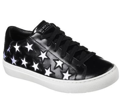 "Skechers Rise Silver Cutout Stars ""STAR SIDE"" Black Leather Sneakers Wms NWT"