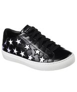 "Skechers Rise Silver Cutout Stars ""STAR SIDE"" Black Leather Sneakers Wms... - £48.05 GBP"