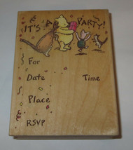 It's A Party Rubber Stamp Winnie the Pooh Piglet Roo Invitation Classic Disney  - $16.82