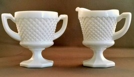 Westmoreland English Hobnail Footed Creamer and Sugar Bowl White Hexagon... - $15.84