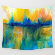 Wall Tapestry Wall Hanging Abstract 14 yellow blue green by L.Dumas - $926,63 MXN+
