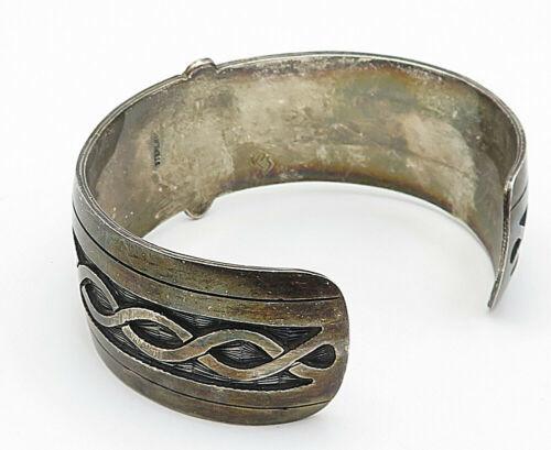 925 Sterling Silver - Vintage Dark Tone Twist Detail Wide Cuff Bracelet - B4584