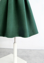 Winter Wool Skirt Dark Green Warm Midi Party Skirt A-line with Pockets Plus  image 3