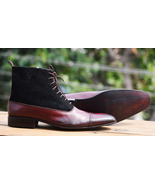Handmade Ankle High Leather Boots, Black Brown Leather Boots, Men's Form... - $179.97+