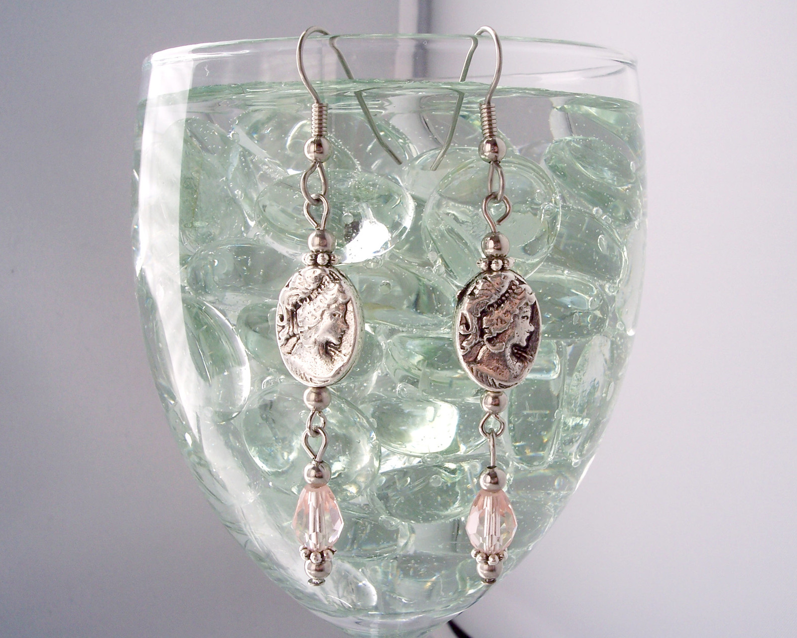Victorian Inspired Cameo Drop Earrings Pink