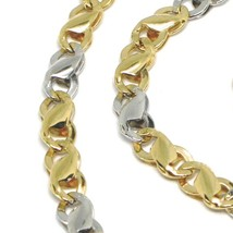 18K YELLOW WHITE GOLD CHAIN, INFINITE ROUNDED LINK, 20 INCHES, ITALY MADE image 2