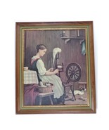 Vintage Framed Print Girl Spinning with Cat At The Spinning Wheel - $45.00