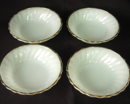 4 ANCHOR HOCKING Swirl Berry Bowls White with Gold Trim - $6.00
