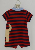 MudPie Puppy Polo One Piece Red Blue Cambray Collar 12 to 18 Months image 2