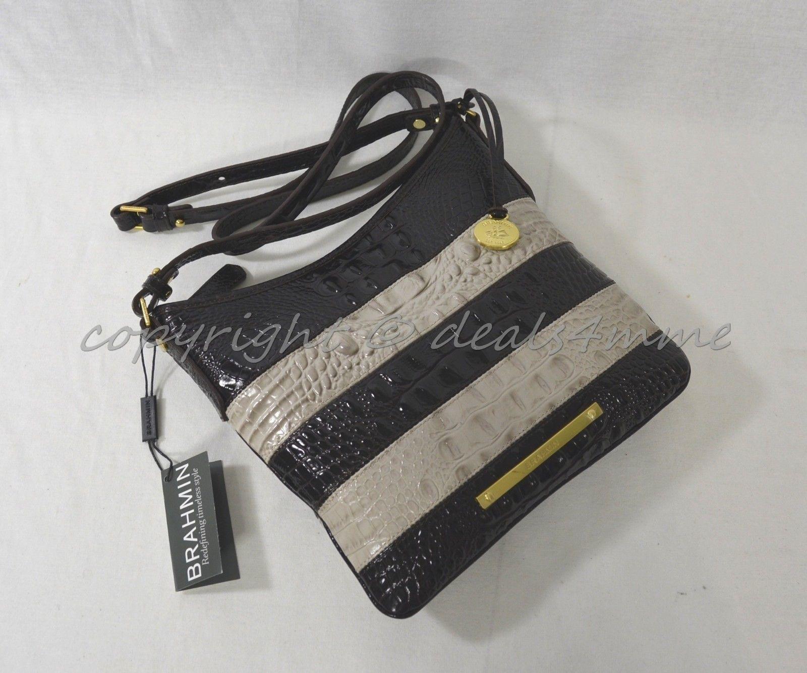 NWT Brahmin Jody Striped Cross-Body/Shoulder Bag in Angora Vineyard