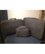 Vintage Retro Oscar De La Renta Gray Tweed 3pc Luggage Set Suitcase Carr... - $93.50