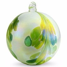"""4"""" European Art Glass Crested Plume Jade Green Pearlized White Witch Bal... - $24.20"""
