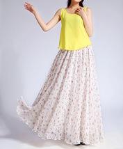 Summer MAXI Floral SKIRT Women White Flower Maxi Chiffon Skirt Long Beach Skirt image 4