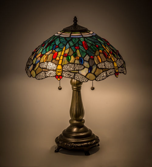 """Meyda Lighting 119650 Dragonfly Tiffany Style Stained Glass Table Lamp 16"""" Shade"""