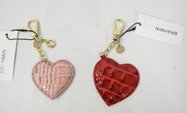 NWT Brahmin Leather Heart Bag Charm in Carnation / Petunia OR Marquis Me... - $44.00