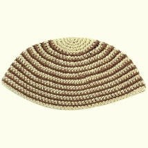 Freak Frik Kippah Yarmulke Yamaka Crochet Cream Beige Thin Stripes Israel 21 cm