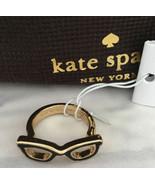 KATE SPADE NWT GORESKI GLASSES RING SIZE 5 BLACK GOLD - $45.00