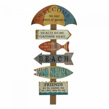 Wood Beach Wall Plaque Tropical Decoration Decor Wooden Vacation Home Decor - $39.59