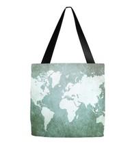 Tote bag All over print Design 55 world map green digital art L.Dumas - $29.99+