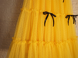Layered Tulle Skirt Outfit w. Bow Festival Long Tulle Skirt Yellow Blue Wine-red image 8