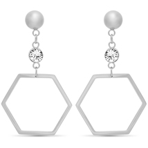 STEELTIME Stainless Steel hexagonal drop earrings adorned w Swarovski crystals image 2