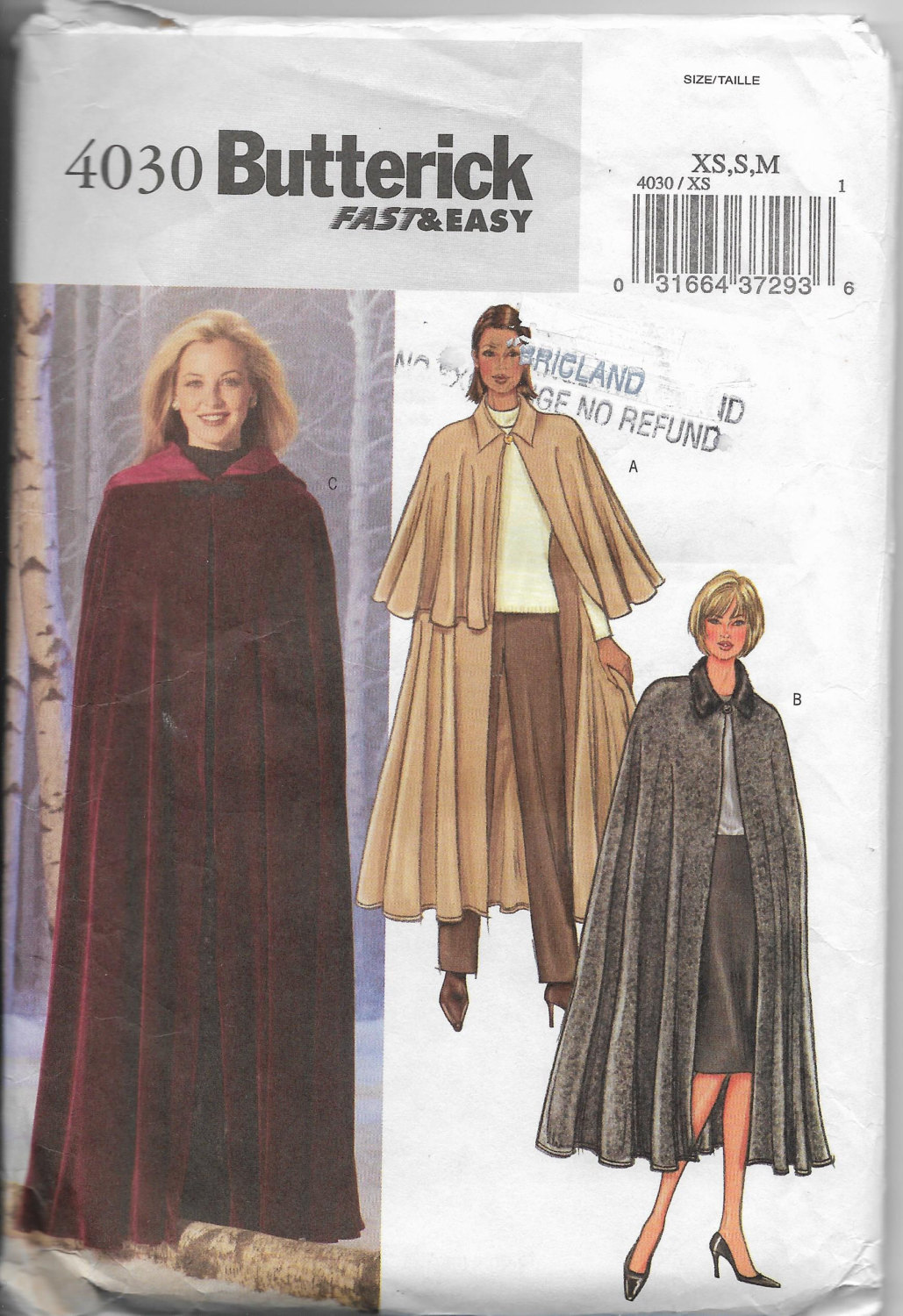 Butterick 4030, Cape Sew Pattern, Lower Calf Length, Long Cape, Front Button FF