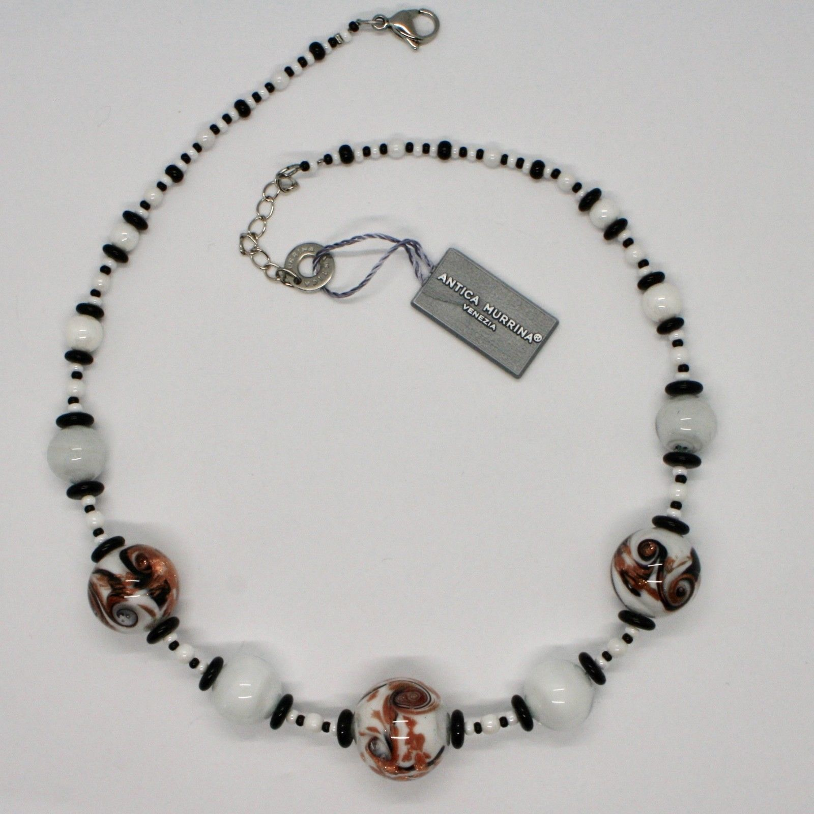 ANTICA MURRINA VENEZIA NECKLACE WITH MURANO GLASS WHITE BEIGE BLACK COA89A15