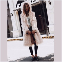 Pink Hooded Fluffy long Hair Angora Goat Faux Fur Long Trench Coat Jacket