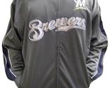 MLB Milwaukee Brewers Men's Big & Tall Full Zip Tricot Reflective Track Jacket - $37.95