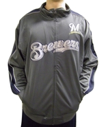 MLB Milwaukee Brewers Men's Big & Tall Full Zip Tricot Reflective Track ... - $39.95