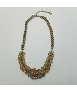 Statement Necklace Bib Champagne Colored Faceted Beads Gold Tone Necklac... - $18.80