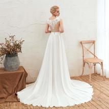 Women's Long Halter Floral Embroidered Tulle Wedding Dress Bridal Gown image 2
