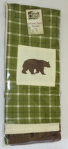BEAR Dish Towel Set (3) Green Plaid Embroidered Off White Brown Kitchen ... - $18.80