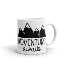 New Mug - Adventure Awaits Mountains hike camper camping camp coffee - $10.99+