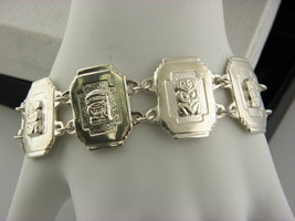 STERLING SILVER 900 ,HEXAGON LINKS  BRACELET #24 - $46.53