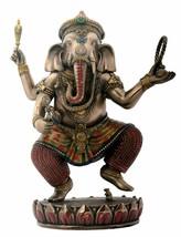 Dancing Ganesha on Lotus Collectible Hinduism Sculpture - $54.41