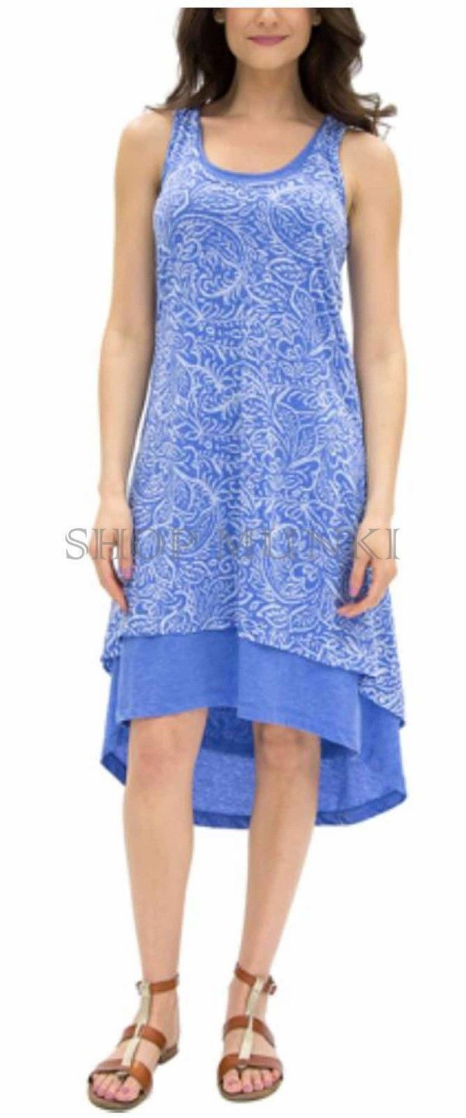 4efc6eab10 Mod-o-doc Blue LAPIS Keyhole Back Sleeveless High-Low Hem Tank Dress XS -  $34.65