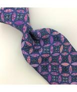 """XL 61"""" Ted Baker Necktie USA Circles Deco Pink Blue Luxury Necktie Silk ... - $59.39"""