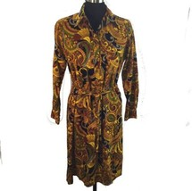 Vtg Groovy Wide Collar Pullover Shirt Dress Paisley Long Sleeve Gold Bro... - $49.01