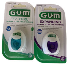 GUM Expanding Dental Floss 2030 43.3 Yrd And Mint Floss 43.3 Yard (Pack ... - $14.84