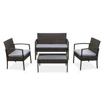 (Ships From USA) 4 PCS Outdoor Patio Rattan Wicker Furniture Set Table Sofa Cush image 2