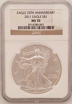 2011 American Silver Eagle 25TH Anniversary NGC MS70 $1 1 OZ Brown Label - $78.39