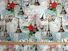 Paris Eiffel Tower Four Seasons Paris Floral 100% cotton fabric by the yard - $7.59