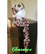 Crochet Headband/Ear Warmer & Curly Scarf Set (mauve mix) - $25.00