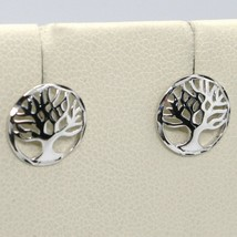 18K WHITE  GOLD ROUND BUTTON EARRINGS WITH BEAUTIFUL TREE OF LIFE, MADE IN ITALY image 1