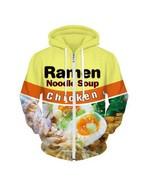 Ramen Noodle Soup Zip-Zup Sweatshirt Jacket Chicken Letter Hoodies Yello... - $49.98