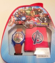 Childs' Marvel Avengers Assemble LCD Watch and Wristband With Metal Backpack - $14.01