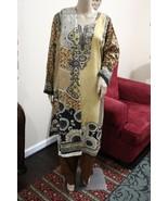 Pakistani Brown & Beige Printed Straight Shirt 3-Pcs  Arabic  Lawn Suit ,xl - $44.55