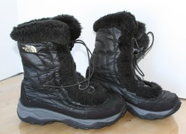North Face Girls/Kids Nuptse Faux Fur II Boots APJY Shiny Black/Black Si... - $23.75