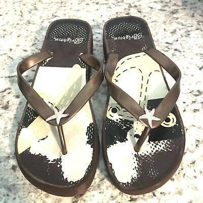 Primary image for BRIGHTON Women's Flip Flop low Wedge Heel Nautical Starfish Sassy brown  Size 9